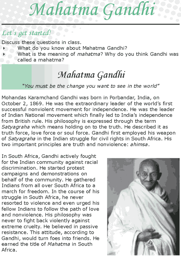 Grade 8 Reading Lesson 7 Nonfiction - Philosophers Corner - Mahatma Gandhi