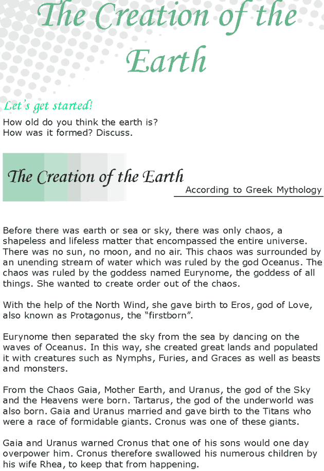 Grade 8 Reading Lesson 9 Myths - The Creation Of The Earth