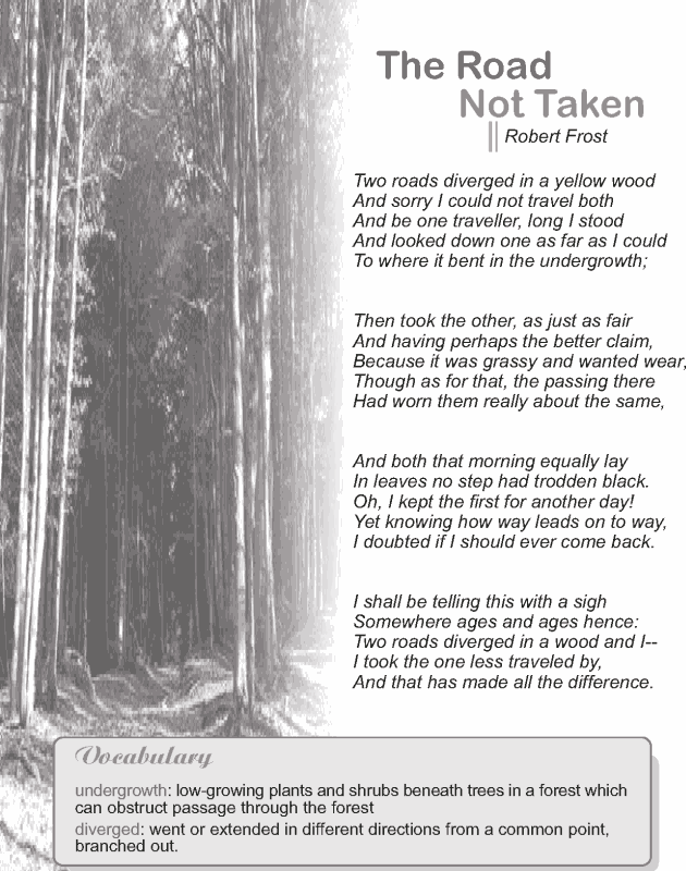 Grade 9 Reading Lesson 1 Poetry - The Road Not Taken (1)