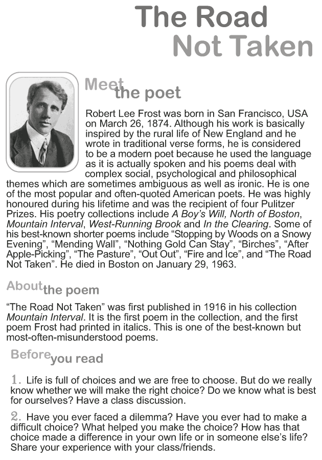 Grade 9 Reading Lesson 1 Poetry - The Road Not Taken