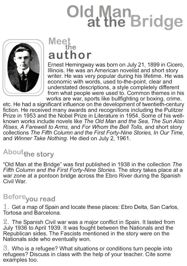 Grade 9 Reading Lesson 10 Short Stories - Old Man at the Bridge