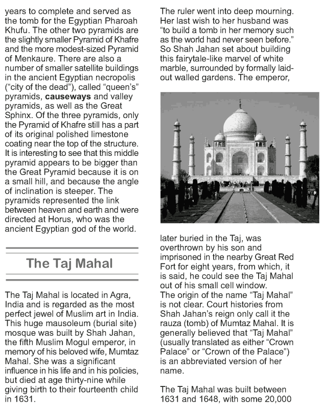 Grade 9 Reading Lesson 15 Essays - The New Seven Wonders of the World (1)
