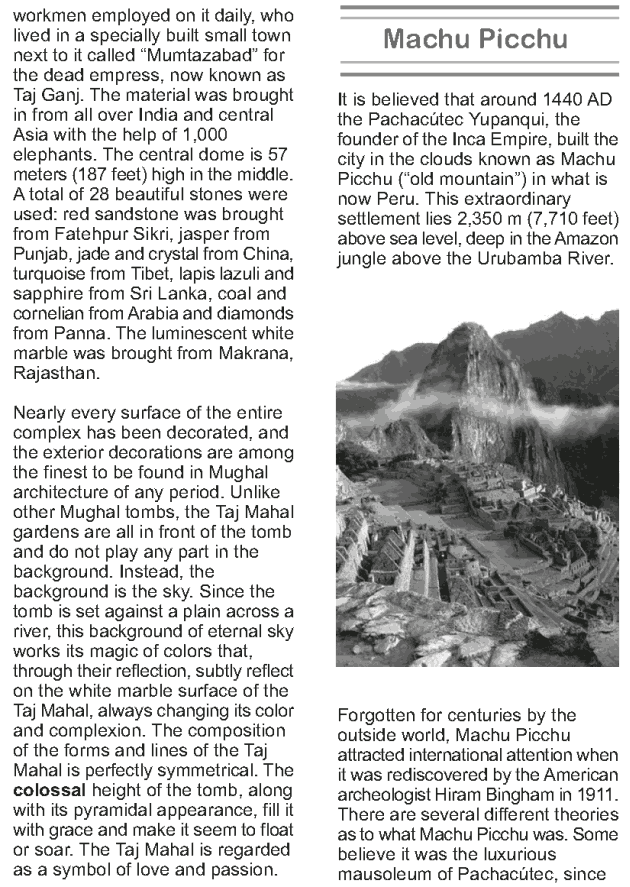 Grade 9 Reading Lesson 15 Essays - The New Seven Wonders of the World (2)