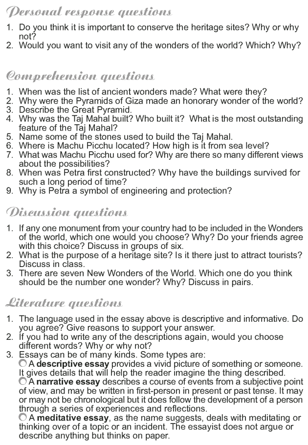 Grade 9 Reading Lesson 15 Essays - The New Seven Wonders of the World (5)