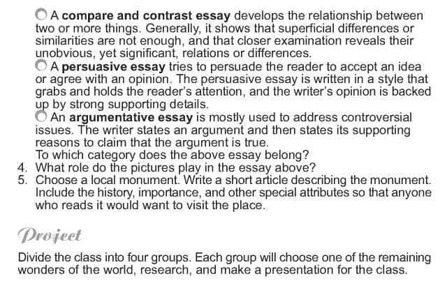 Grade 9 Reading Lesson 15 Essays - The New Seven Wonders of the World (6)