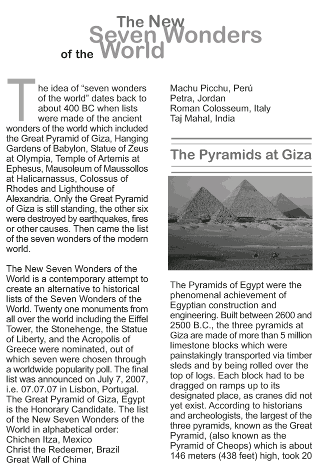 Grade 9 Reading Lesson 15 Essays - The New Seven Wonders of the World