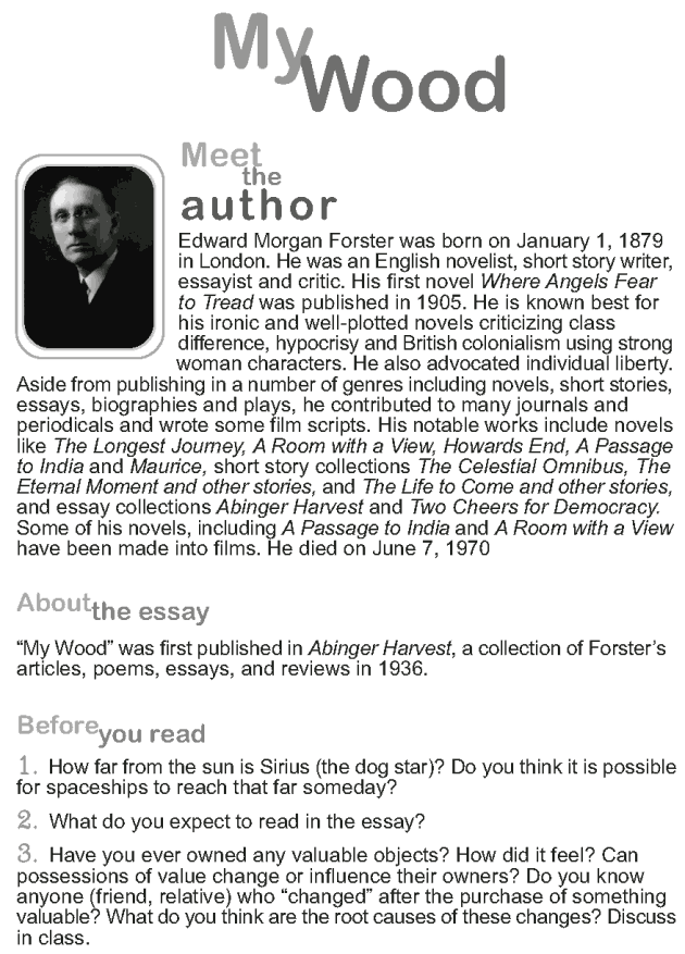 Grade 9 Reading Lesson 16 Essays - My Wood