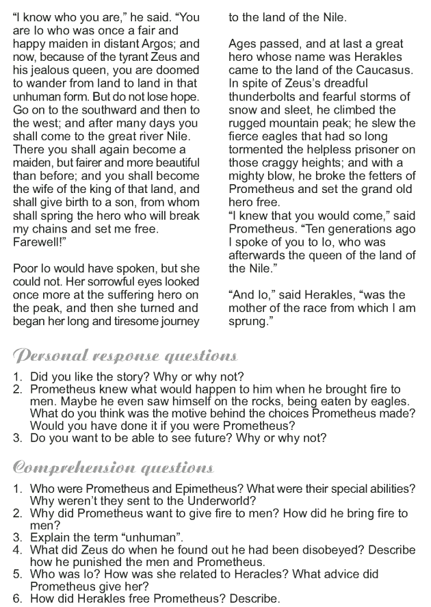 Grade 9 Reading Lesson 18 Myth and Folklore - Prometheus the Fire Bringer (4)