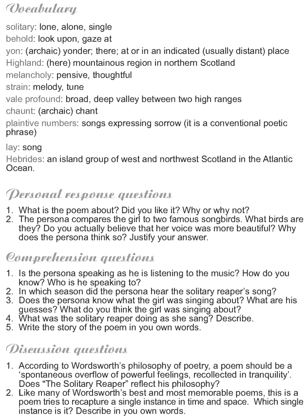 Grade 9 Reading Lesson 2 Poetry - The Solitary Reaper (2)