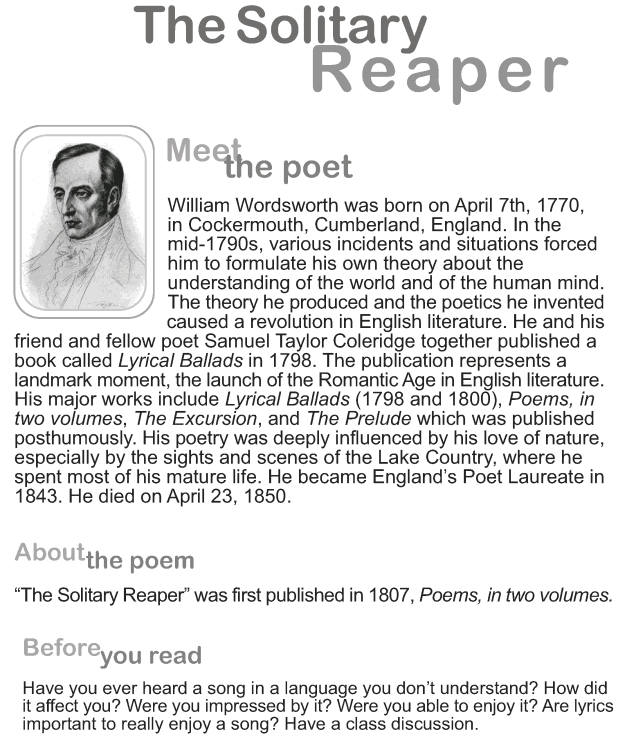Grade 9 Reading Lesson 2 Poetry - The Solitary Reaper