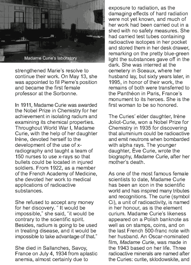Grade 9 Reading Lesson 20 Biographies - Madame Curie (2)
