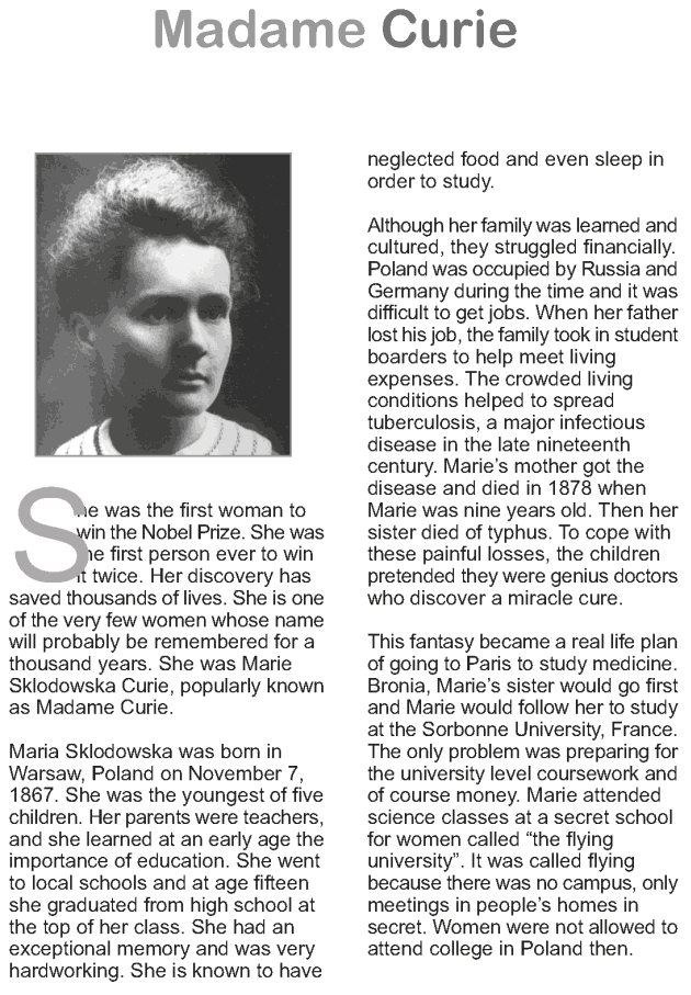 Grade 9 Reading Lesson 20 Biographies - Madame Curie