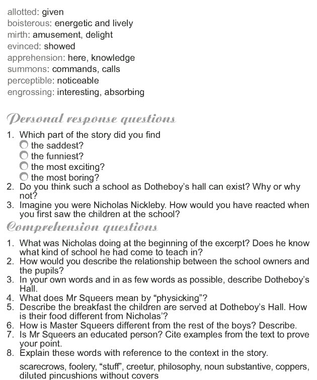 Grade 9 Reading Lesson 22 Classics - Nicholas Nickleby (9)