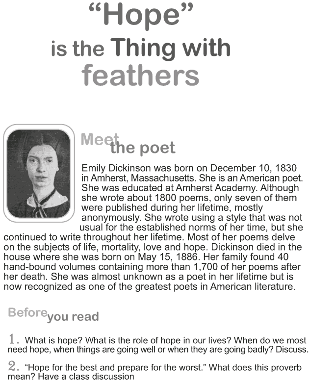 Grade 9 Reading Lesson 3 Poetry - Hope is a Thing on Feathers