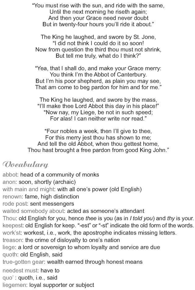 Grade 9 Reading Lesson 4 Poetry - King John and the Abbot of Canterbury (4)