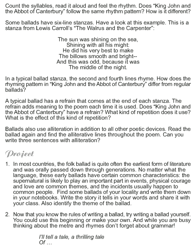 Grade 9 Reading Lesson 4 Poetry - King John and the Abbot of Canterbury (7)