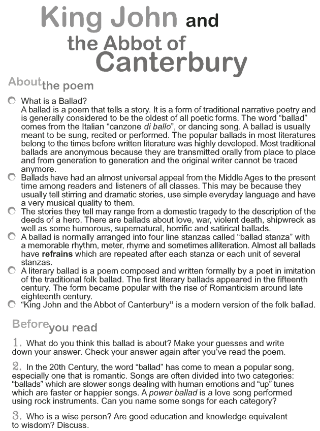 Grade 9 Reading Lesson 4 Poetry - King John and the Abbot of Canterbury