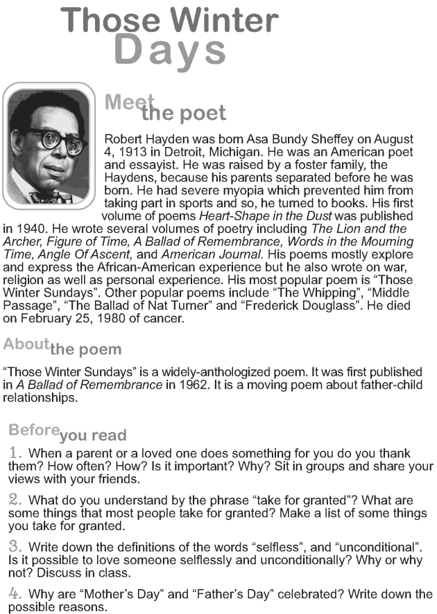 Grade 9 Reading Lesson 5 Poetry - Those Winter Days