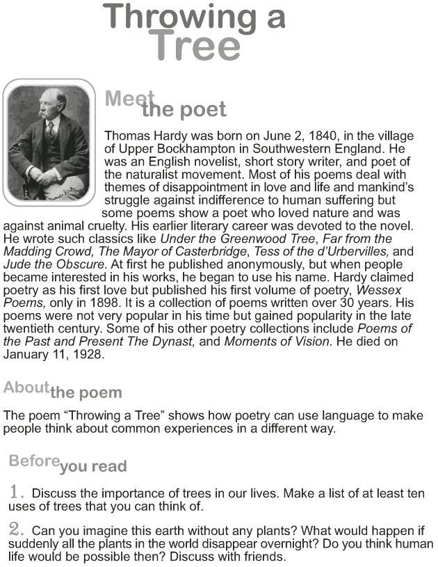 Grade 9 Reading Lesson 6 Poetry - Throwing a Tree