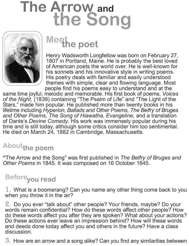 Grade 9 Reading Lesson 9 Poetry - The Arrow and the Song